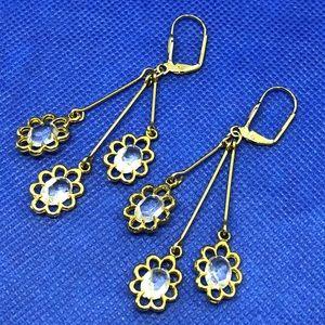 🆕Vintage Gold & Clear Jewel Drop Earrings